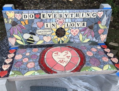 Mosaic benches from Creative Health Impact Grants debut at Laurel View Village